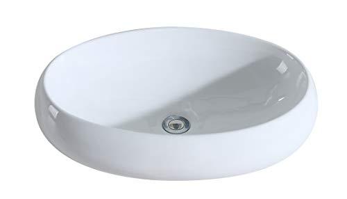 Eridanus, Serie Malie, Oval Waschschale, Keramik Design Waschbecken, Groß Aufstazwaschbecken, 60 cm