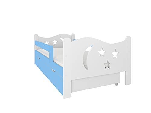 NeedSleep - Cama infantil completa de 80 x 140, 80 x 160 cm, somier y cajón, para niños a partir de 2 años, para niñas, jóvenes, Montessori, habitación infantil, cama funcional (80 x 160 cm, azul)