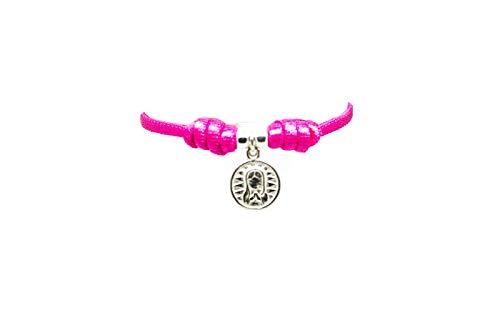 kokomorocco Pulsera comunión Medalla Virgen niña de Plata de Ley con cordón elástico Ajustable Color Rosa, Regalo Cuento con la Historia de la Virgen niña, Caja y Bolsa de Regalo Incluido