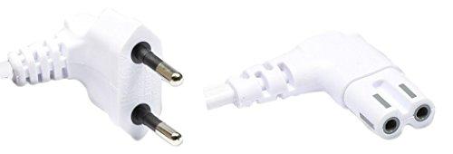 Good Connections® Euro-Netzkabel - 3 m - Netzstecker (90° gewinkelt) an Euro 8 Buchse (90° gewinkelt) - für Smart TV, Playstation, XBOX One S, Drucker, Radio, Rasierer, usw. - weiß