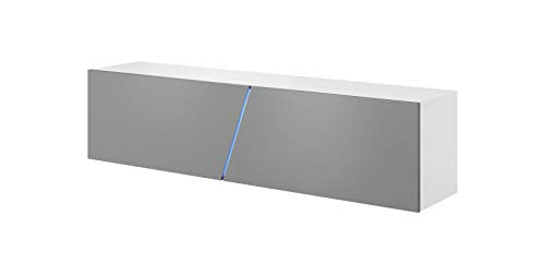 Vivaldi Mobile TV sospeso Slant | 40 x 160 x 34 cm | Illuminazione RGB | Armadietto TV con Pannelli Laminati | Mobile Basso per Soggiorno, Ufficio, Hotel | Bianco Opaco e Grigio Lucido