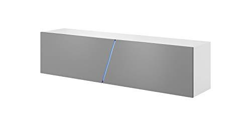 Vivaldi Mobile TV sospeso Slant   40 x 160 x 34 cm   Illuminazione RGB   Armadietto TV con Pannelli Laminati   Mobile Basso per Soggiorno, Ufficio, Hotel   Bianco Opaco e Grigio Lucido