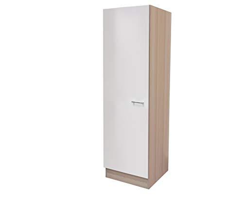MMR Küchen-Hochschrank DERRY - Geschirrschrank - 1-türig - Breite 50 cm - Hoch 200 cm - Perlmutt Weiß