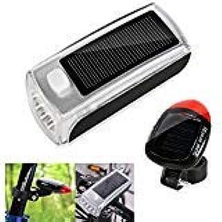 MakeTheOne Solar Bicycle Light Combination USB Rechargeable Bike Front Headlight Rear LED Tail Light Set