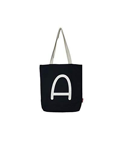 Hello-Bags - Bolso Tote de Algodón con Cremallera, Forro y Bolsillo Interior, 38 cm, Negro