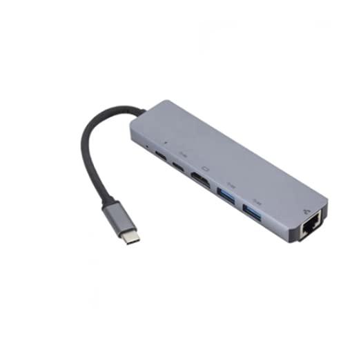 4K USB C a Gigabit Ethernet Rj45 LAN 6 en 1 Hub Tipo C con USB Adaptador para Mac Libro Pro Thunderbolt 3 USB-C Cargador