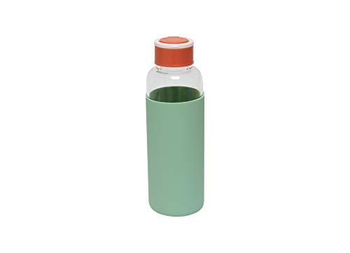 Fisura   Botella de Agua de Cristal con Funda de Silicona Eco-Friendly Reutilizable 480 ml. Apta para niños. 20,5 x 6 cm. (Verde)