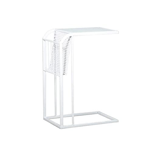 Bijzettafel Glas Rechthoekige Bijzettafel Metalen Bank Bijzettafel Opslag Koffietafel voor Kleine Ruimtes, Woonkamer Nachtkastje Hoektafel (Kleur: Goud)