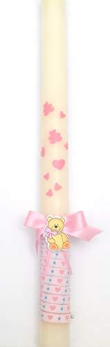 Vela de bautizo-40 Corazones y Ositos en Rosa o Azul Posibilidad de Personalizar- Medidas 40x3 cm (Rosa)