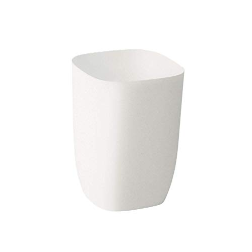 mingol Small Garbage Can for Bathroom, Bedroom, Kitchen, Slim Cute Plastic Waste Basket for Office, 7L, Matt White