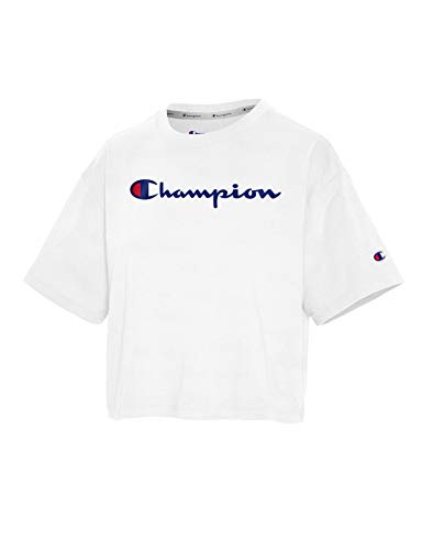 Champion Women's The Cropped TEE, White, Large