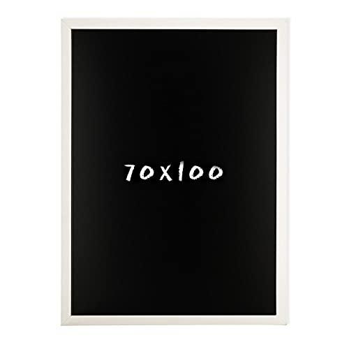 Postergaleria Kreidetafel für Wand | 70x100cm | Weiß | Wandtafel aus Kiefernholz (HDF) in Schwarz | mit Kreide & Einer Schnur zum Aufhängen | für Küchen, Cafés, Geschäfte | Viele Farben | 6 Größen