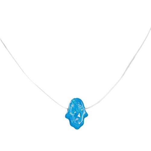 LJSLYJ Hamsa Hand Fatima Anhänger Halskette Transparente Kette Choker Frauen Schmuck, Blau