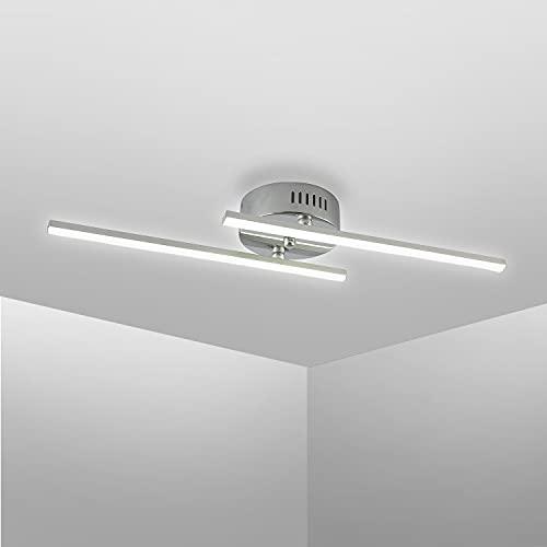 Bojim LED Deckenleuchte 2-flammig, 4000K Naturweiß, LED Platine, 12W 220V IP20 1200lm Moderne Gerade Deckenlampe für Wohnzimmer Schlafzimmer Esszimmer Küche, Aluminium Gebürstet