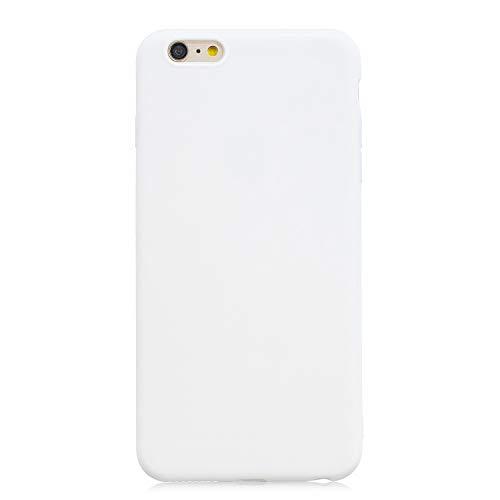 cuzz Funda para iPhone 6/6S Plus+{Protector de Pantalla de Vidrio Templado} Carcasa Silicona Suave Gel Rasguño y Resistente Teléfono Móvil Cover-Blanco