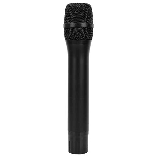 Micrófono inalámbrico, Micrófono de mano inalámbrico portátil, Micrófono de mano inalámbrico UHF portátil con receptor Batería AA para conferencias, Negro