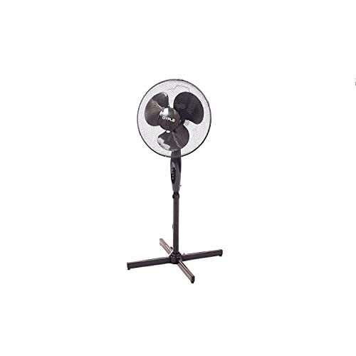 """Oypla Electrical 16"""" Oscillating Black Extendable Free Standing Tower Pedestal Cooling Fan"""