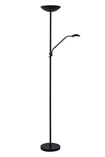 Lucide ZENITH - staande lamp met leeslamp - Ø 25,4 cm - LED dim - 1x20W 3000K - Zwart