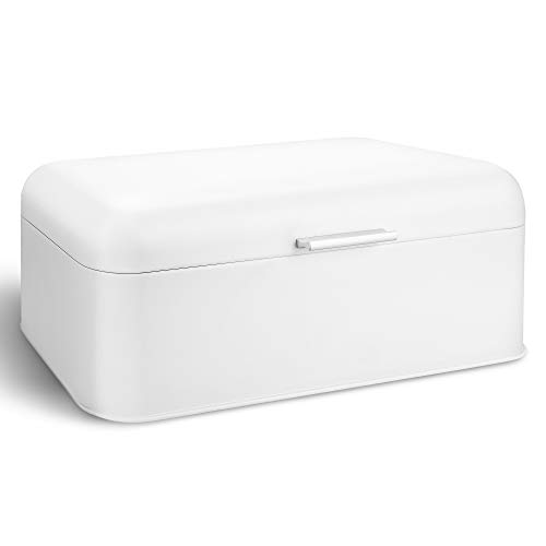 Large White Bread Box, Bread Bin with Lid, Carbon Steel with Powder Coating Storage Container for Loaves, Bagels, Chips 16.7