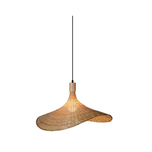 OSALADI Colgante de Mimbre con Iluminación de Bambú Sombrero de Paja Colgante con Lámpara de Araña de Bambú Ligero con Forma de Lámpara de Techo en Beige 11. 8 de Ancho