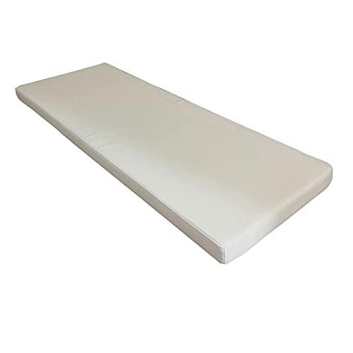 LJM Cojines de Banco de 3/5 cm de Grosor Cojines de Asiento Lavables de 100/120 cm Cojín de Banco de 2/3 plazas con Esponja Dura y Suave Moderada para Muebles de jardín y Patio (Azul 35 * 100 * 3 cm)