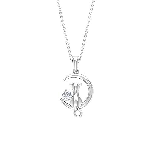 Collar con colgante de diamante de 1/4 quilates con colgante de gato en la luna (diamante redondo de 4 mm), Metal, Diamond,