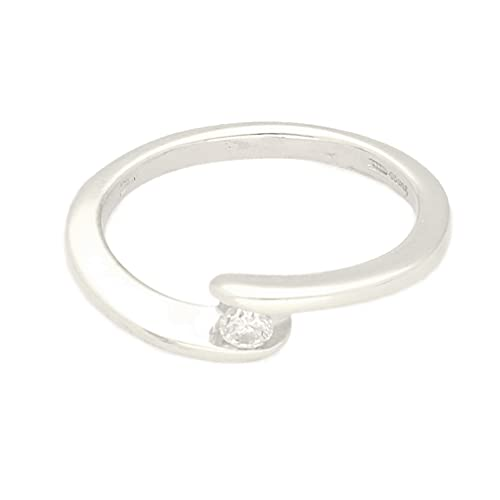 Anillo solitario de oro blanco de 9 quilates con diamante de 0,10 quilates (talla N), cabeza de 3 mm, anillo de lujo para mujer