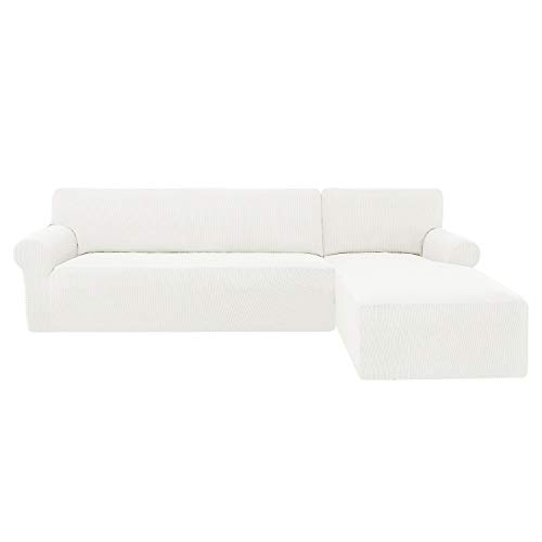 subrtex Funda Sofa Chaise Longue Brazo Derecho Elastica Largo Protector para Sofa Chaise Longue Derecha Antimanchas Ajustable(Cream)