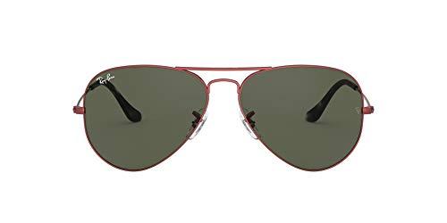 Ray-Ban Aviator Gafas, ROJO, 62 mm Unisex Adulto