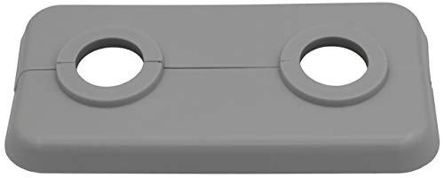 1 Stück Doppel-Rosette für Heizungsrohre in Lichtgrau (RAL 7035), Abdeckung für Heizungsrohre, Heizung, 2-teilig, 15mm, 16mm, 18mm, 21,3mm Polypropylen in Sonderfarben (15mm, RAL 7035)