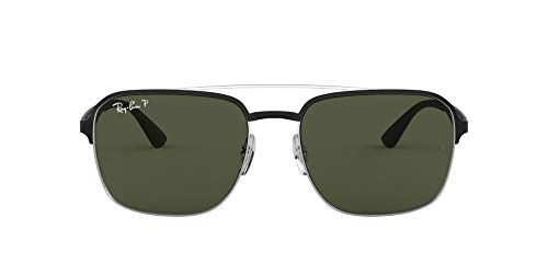 Ray-Ban 0Rb3570 Gafas de sol, Silver Top Shiny Black, 58 Unisex-Adulto