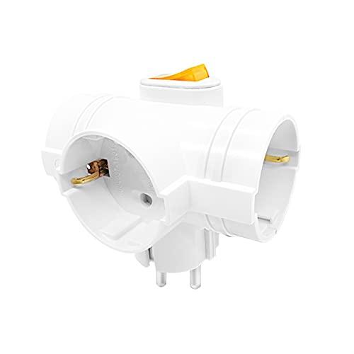 SPFCJL Toma de Enchufe DIN estándar de 4.8mm del Adaptador de Corriente de la UE del Enchufe de 1 a 3 con el Interruptor 16A 250V Viaje del Cargador DE LA Pared DE LA Pared (Color : 3pcs)