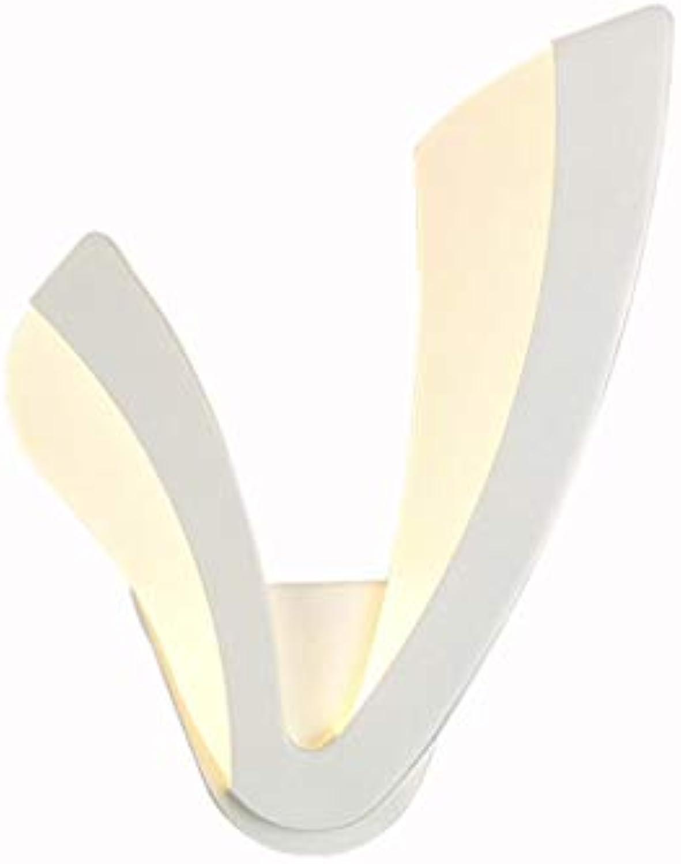 SACYSAC Wandleuchte wei V-frmigen Hintergrund Wandleuchte führte Schlafzimmer Nachttischlampe,Weißlight,B
