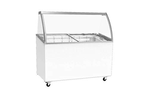 Vitrina móvil para helado, mostrador, puerta corredera de cristal, 9 x 5 litros, con accesorio de cristal y parabrisas curvado, refrigeración estática sobre ruedas, 1314 x 694 x 1315 mm