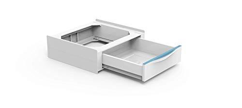 Meliconi Base Torre Extra, kit de superposición para lavadora y secadora con cajón extraíble y correa de seguridad con hebilla de metal incluida, fabricado en Italia, color blanco