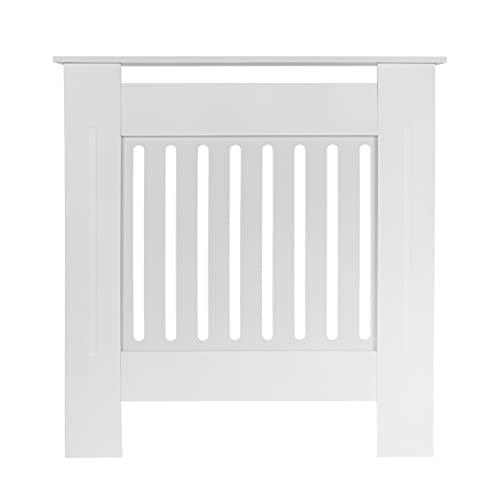 Roccken Radiator Cover Modern Painted Vertical Slatted MDF Cabinet, White Radiator Shelve for Living Room Bedroom Furniture (White, Small:78 x 19 x 82 CM)