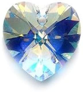 Swarovski 6228 Top Hole Heart Beads, Aurora Borealis, Crystal, 18mm, 2 Per Pack