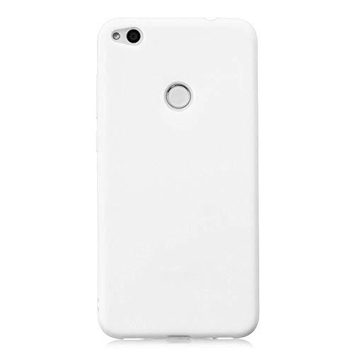 cuzz Funda para Huawei P8 Lite (2017)+{Protector de Pantalla de Vidrio Templado} Carcasa Silicona Suave Gel Rasguño y Resistente Teléfono Móvil Cover-Blanco