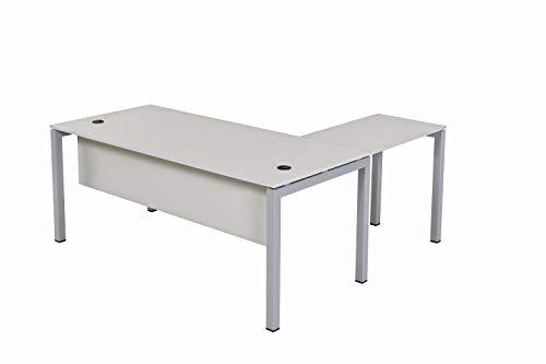 Schreibtisch Tetra 180 Schreibtisch, Schreibtisch Homeoffice Seminartisch, Eckschreibtisch, drehbarer Computertisch und Tastatur öffnen sich, Winkelkombination, einfache Montage, grau, Furni24