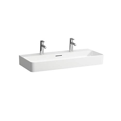 Laufen VAL Möbel-Waschtisch, 2 Hahnlöcher, mit Überlauf, 950x420, weiß, Farbe: Weiß