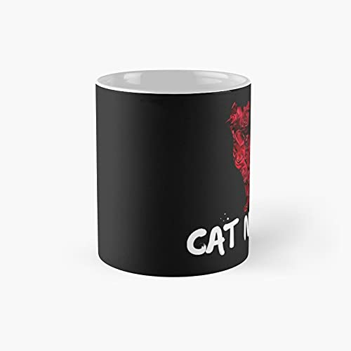 Cat N Roses And Red Classic Mug - Funny Gift Coffee Tea Cup White 11 Oz The Best Gift For Holidays.
