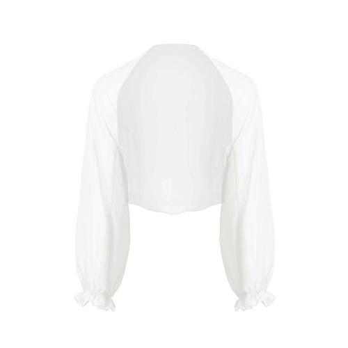 iEFiEL Coprispalle Bolero da Donna Cardigan Estate Primavera Fresco Copricostume in Chiffon Cappotto Leggero Giacca Corta a Manica Lunga Cover Up Elegante Bianco Taglia Unica
