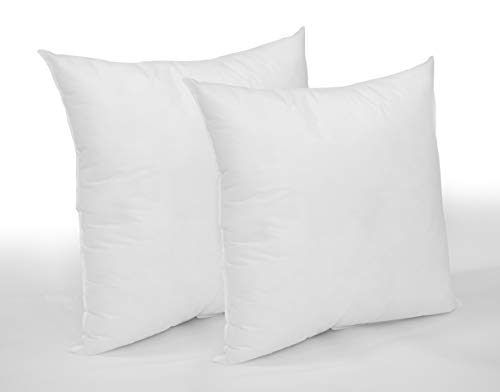 eSofa Cushion Inserts Hypoallergenic Pads Stuffer Pillow Insert Ultra Bounce Back Cushions for Sofa Bed (Pack of 2) White (Pack of 2 18' x 18')