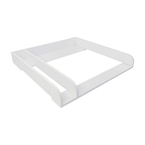 Puckdaddy Wickelaufsatz Peer – 80x78x10 cm, Wickelauflage aus Holz in Weiß, hochwertiger Wickeltischaufsatz mit Trennfach passend für IKEA Malm Kommoden, inkl. Wandbefestigung