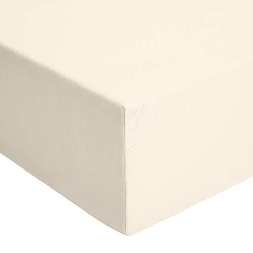 AmazonBasics - Spannbetttuch, Jersey, Beige - 200 x 200 cm