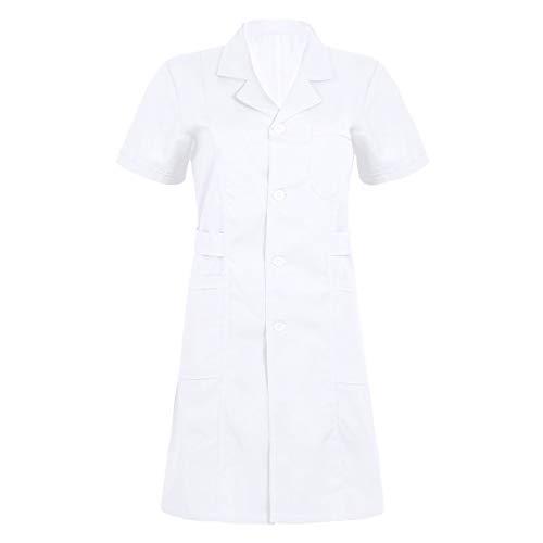 MSemis Divisa Ospedaliera Donna Cotone Camice Medico Infermiera Manica Corta Camice da Lavoro Farmacista Estetista Casacca da Laboratorio con Tasche Bianco/Rosa/Blu Bianco M