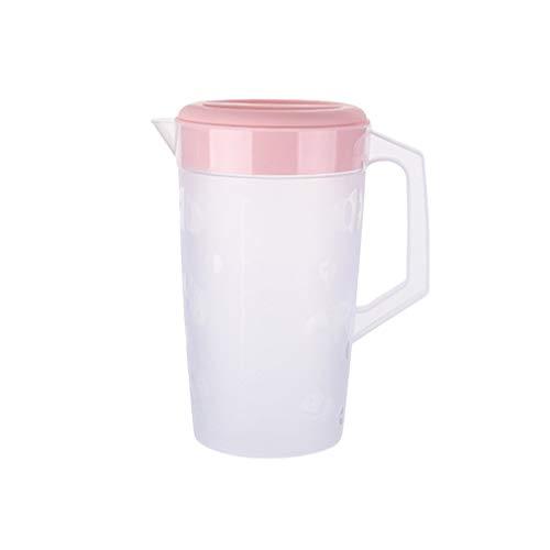 UPKOCH Krug mit Deckel für Eistee, transparent, Kunststoff, 2000 ml, Rosa