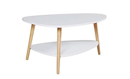 LC Home Couchtisch rund skandinavisch in weiß Holz Wohnzimmertisch mit Ablage, 90 x 67 x 45 cm - Sofatisch Beistelltisch