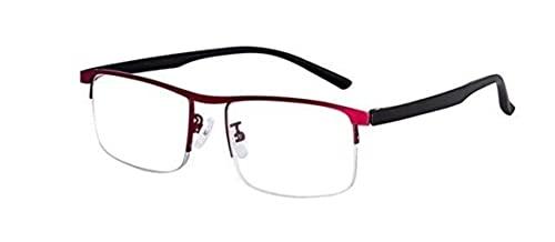 EVUNHUO Gafas de lectura progresiva inteligentes para hombres mujeres cerca y de doble uso Anti-Azul Luz ajuste automático Gafas +200 Rojo