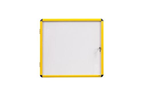 Bi-Office Ultrabrite - Vitrina magnética con marco de aluminio, 2 x A4, color amarillo